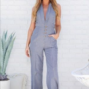 Pants - Navy/Ivory Collared Jumpsuit